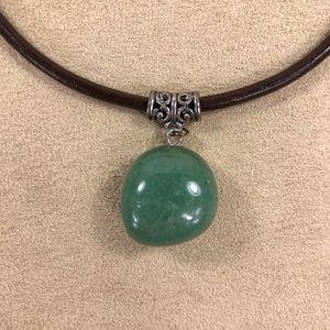 Other - Unisex Green Aventurine & Leather Pendant Necklace